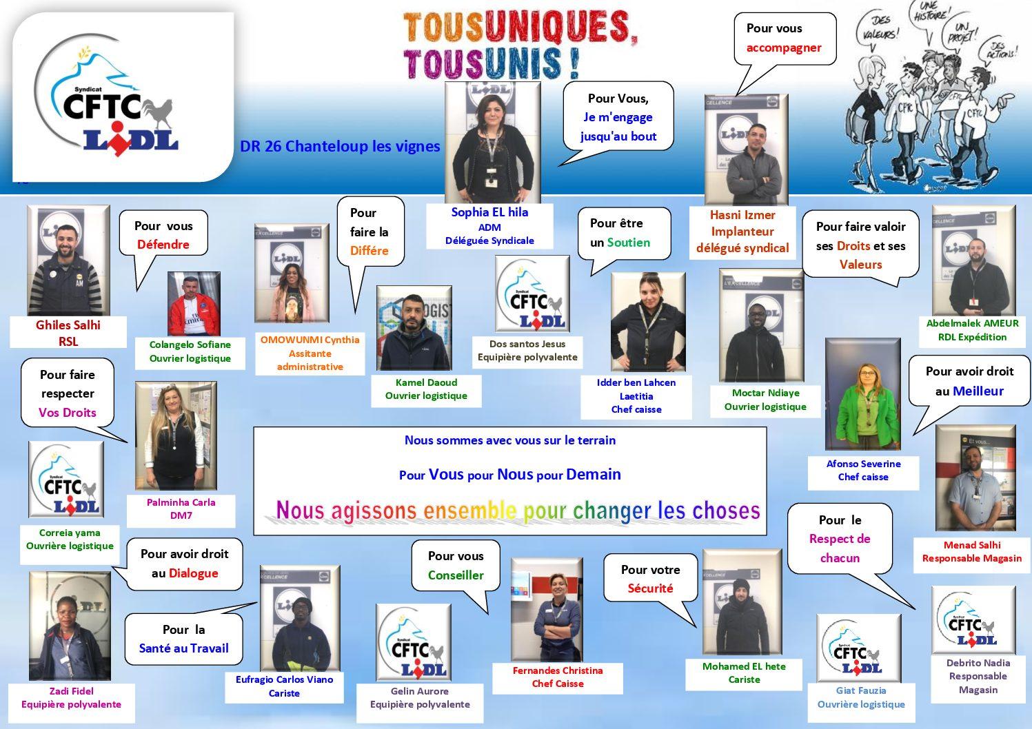 Liste des candidats : élections professionnelles CSE LIDL DR 26
