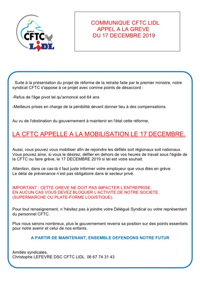 COMMUNIQUE CFTC LIDL              APPEL A LA GREVE           DU 17 DECEMBRE 2019