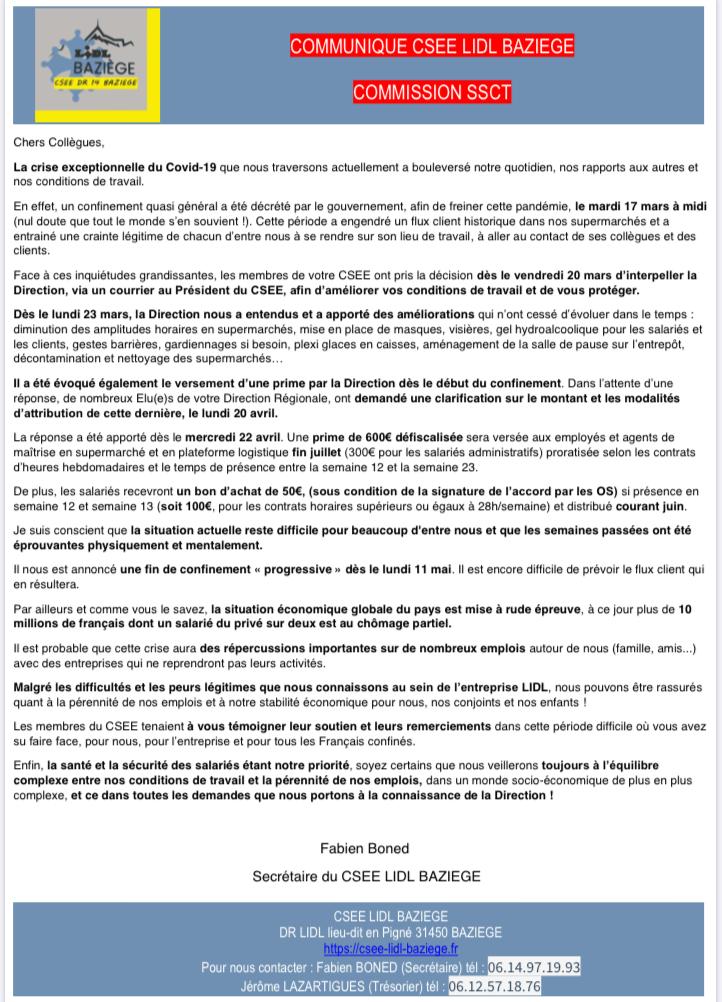 Communiqué CSEE dr 14
